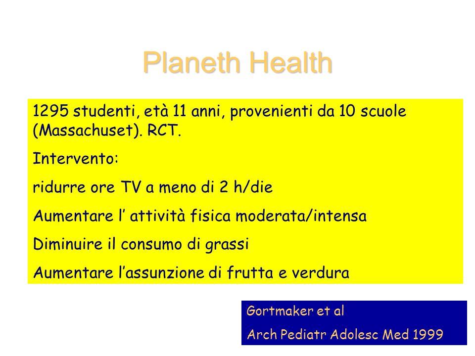 Planeth Health: risultati significativi solo nelle ragazze Dati disponibili nell 83% del campione di partenza Ridotto numero ore TV Aumento di frutta e verdura Lieve riduzione intake calorico (140 kcal/die)