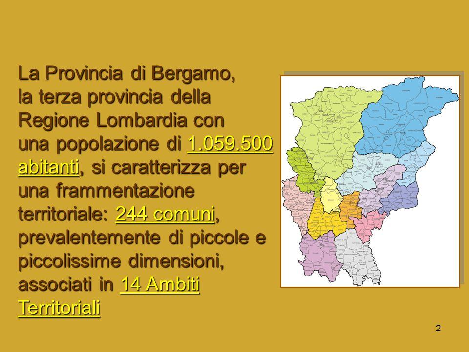 3 Sono 182 i servizi censiti nel 2005 in provincia di Bergamo con un incremento del 30% rispetto al 2003.