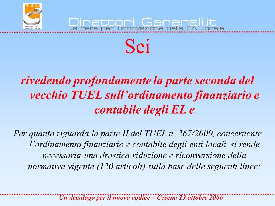 Un decalogo per il nuovo codice – Cesena 13 ottobre 2006 a.