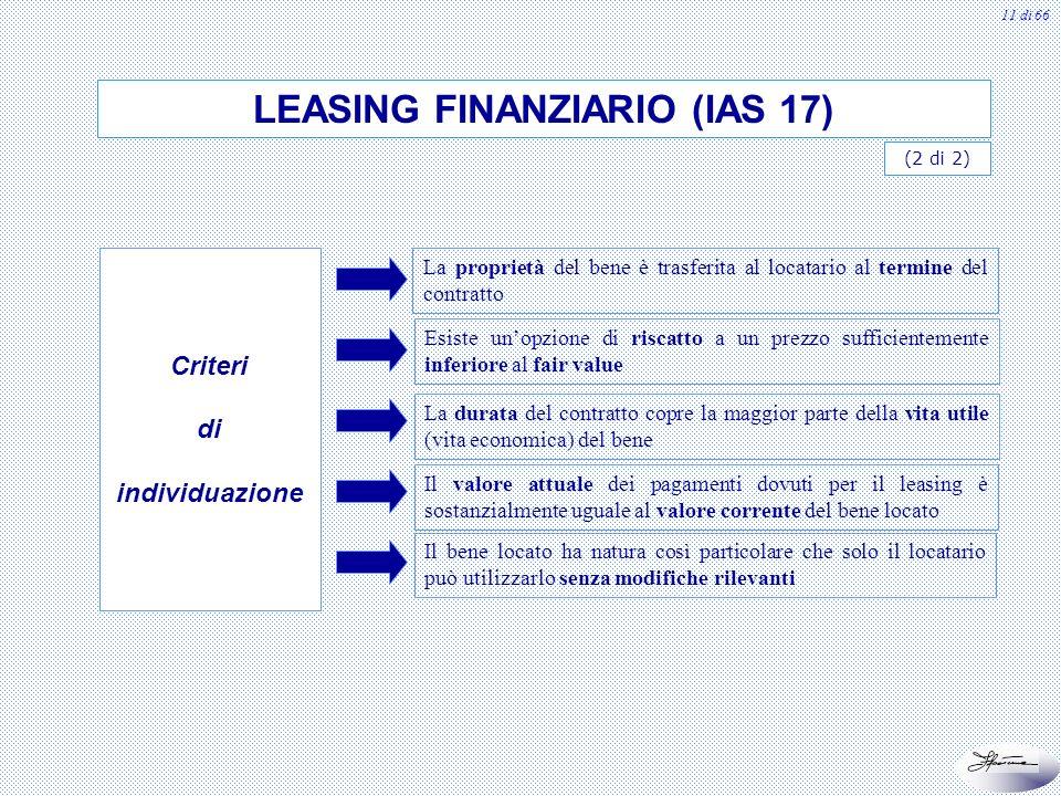 12 di 66 Il leasing operativo non trasferisce tutti i rischi e i benefici derivanti dalla proprietà In sostanza si ha nellipotesi di insussistenza di uno o più requisiti tipici di quello finanziario LEASING OPERATIVO