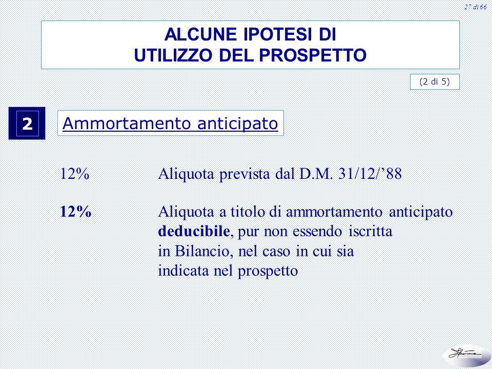 28 di 66 3 Ammortamento calcolato nel primo esercizio di entrata in funzione del bene 6%Aliquota prevista dal D.M.