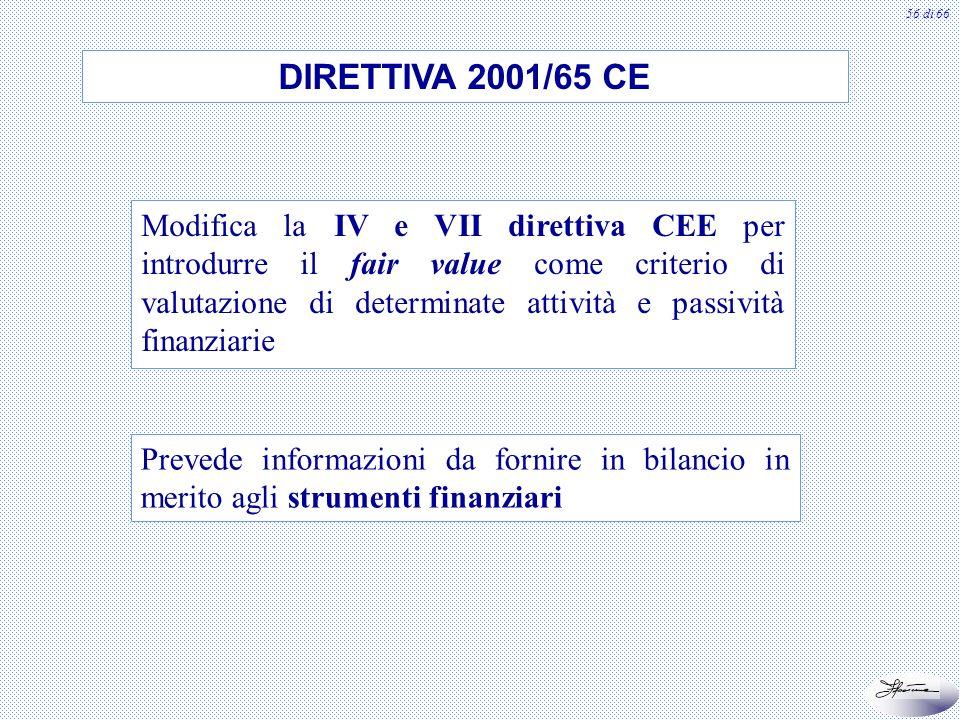 57 di 66 DIRETTIVA 2003/51 CE Compatibilità tra IAS/IFRS e normativa europea Interventi su IV e VII direttiva CEE e sulle direttive riguardanti i bilanci di banche e assicurazioni E ancora in attesa di recepimento