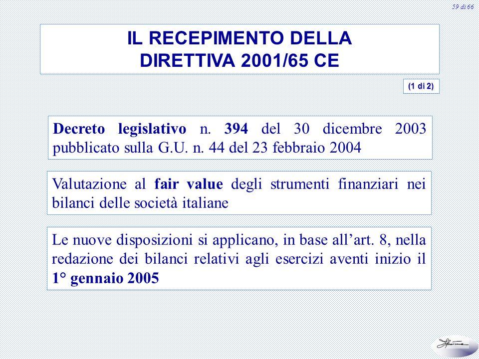 60 di 66 IL RECEPIMENTO DELLA DIRETTIVA 2001/65 CE Principali novità Introduzione dellart.