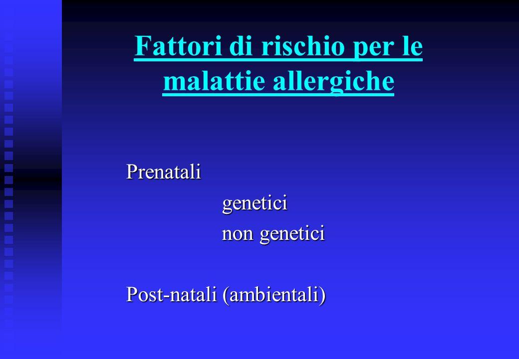 Fattori di rischio genetici per le malattie allergiche Parenti affettiRischio 1 genitore20-40% 1 fratello25-35% 2 genitori40-60% 2 genitori con stessa malattia60-80% (il rischio nella popolazione generale è 5-15%)