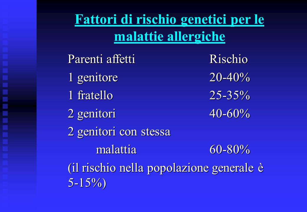 Fattori di rischio genetici per le malattie allergiche La iperproduzione di IgE viene codificata dai cromosomi: 5,6,11,14