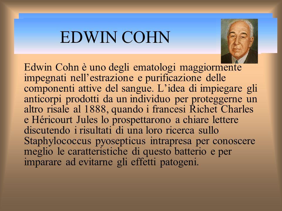 EDWIN COHN Edwin Cohn è uno degli ematologi maggiormente impegnati nellestrazione e purificazione delle componenti attive del sangue.