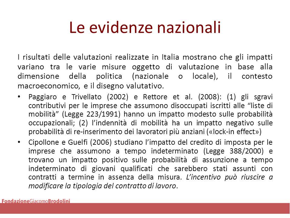 Le evidenze nazionali Battiloro e Mo Costabella (2011) studiano l'impatto di 2 interventi FSE nella provincia di Torino nel 2007.