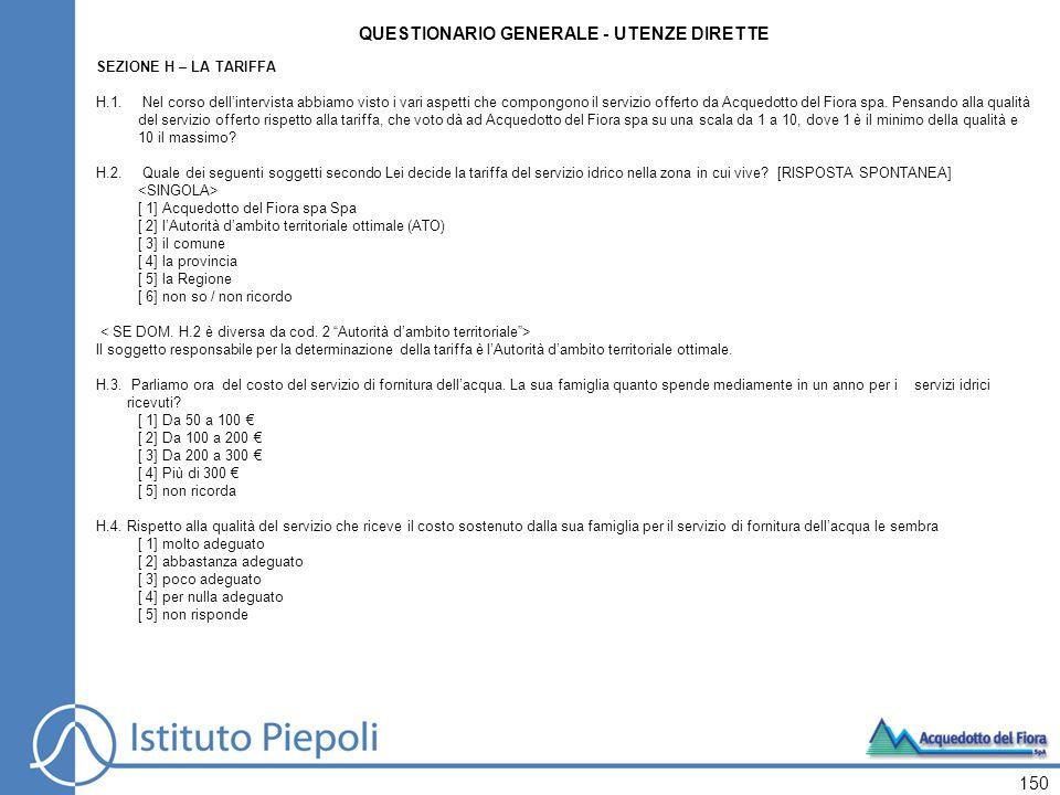 151 QUESTIONARIO GENERALE - UTENZE DIRETTE H.5.