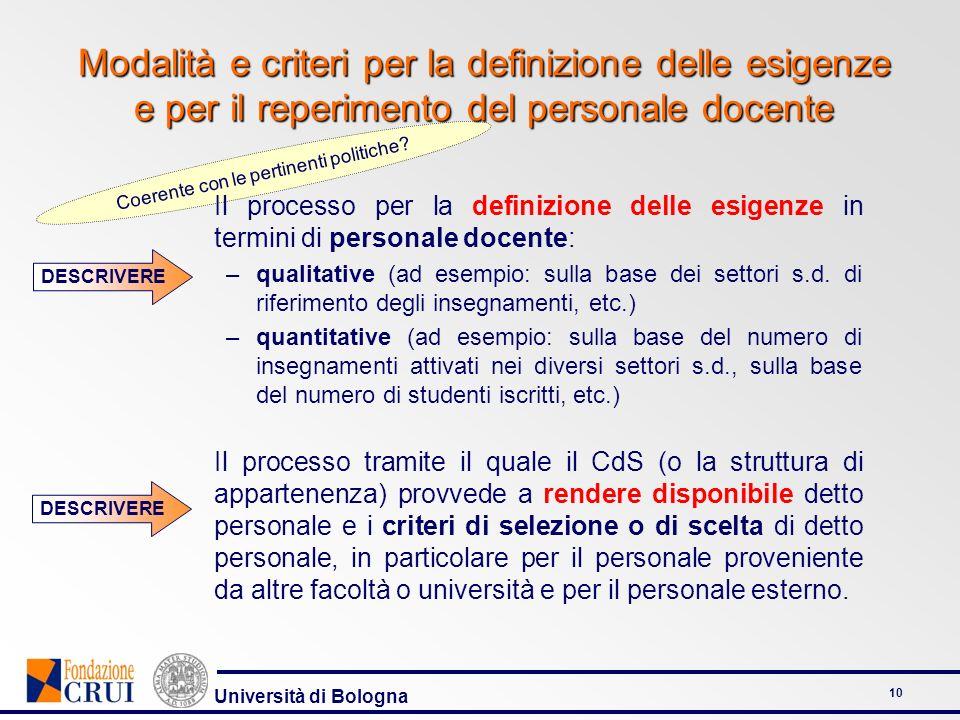 Università di Bologna 11 Un esempio di criteri di selezione dei docenti (CdS in Lettere) Rilevanza dei titoli scientifici Esperienza in campo didattico Coinvolgimento in attività di ricerca nazionali e internazionali Index of quotation Know how informatico e multimediale