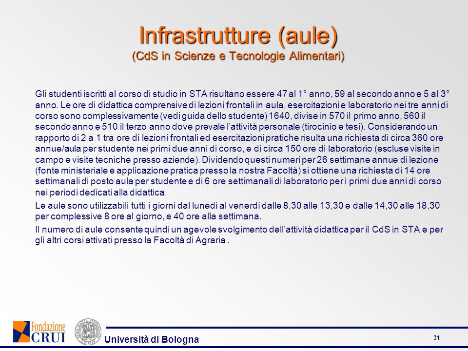 Università di Bologna 32 Infrastrutture C2.