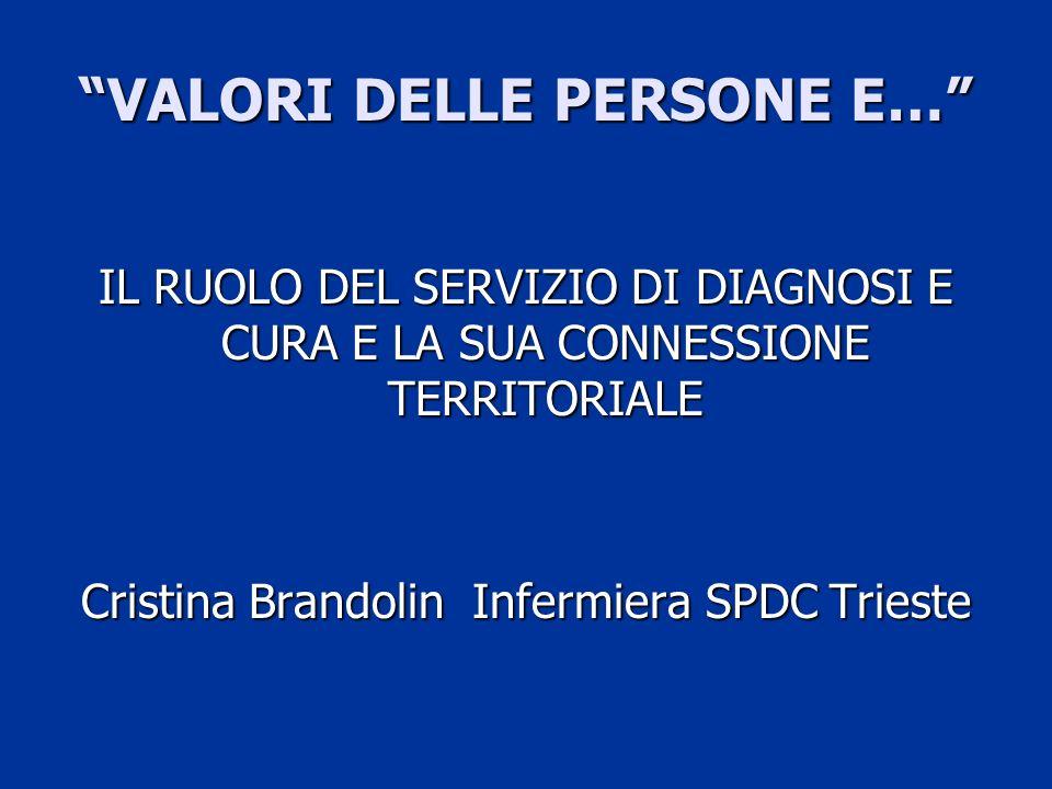 SPDC Una delle 6 UO del DSM, Una delle 6 UO del DSM, Ospedale Maggiore di Trieste Ospedale Maggiore di Trieste 8 posti letto, 4 uomini – 4 donne 8 posti letto, 4 uomini – 4 donne 3 psichiatri 3 psichiatri Staff infermieristico: (16 inf.
