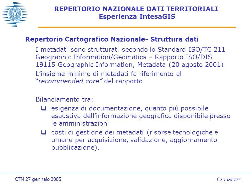 REPERTORIO NAZIONALE DATI TERRITORIALI Esperienza IntesaGIS Repertorio Cartografico Nazionale- Struttura dati Standard ISO/DIS 19115 Modello E.R.