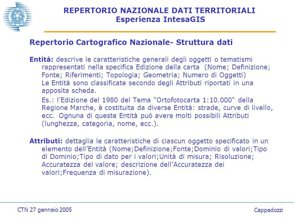 REPERTORIO NAZIONALE DATI TERRITORIALI Esperienza IntesaGIS Repertorio Cartografico Nazionale- Struttura dati La strutturazione in ENTITA e ATTRIBUTI completa le potenzialità del Repertorio.