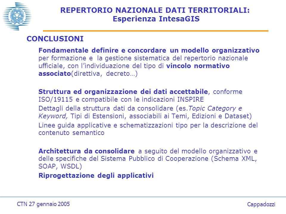 REPERTORIO NAZIONALE DATI TERRITORIALI: Standard ISO TC211, CEN 287, INSPIRE ISO 19115 Geographic information – Metadata Lo standard ISO/DIS 19115, proposto dal Comitato Tecnico 211 dellISO è stato approvato in data 24/3/2003.