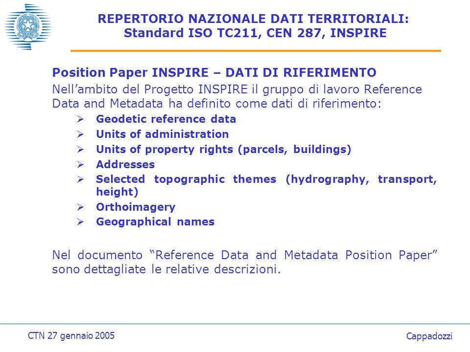 REPERTORIO NAZIONALE DATI TERRITORIALI: Standard ISO TC211, CEN 287, INSPIRE Position Paper INSPIRE – METADATI I metadati sono utilizzati per scoprire, comprendere, accedere ed usare le informazioni e i dati cui si riferiscono.