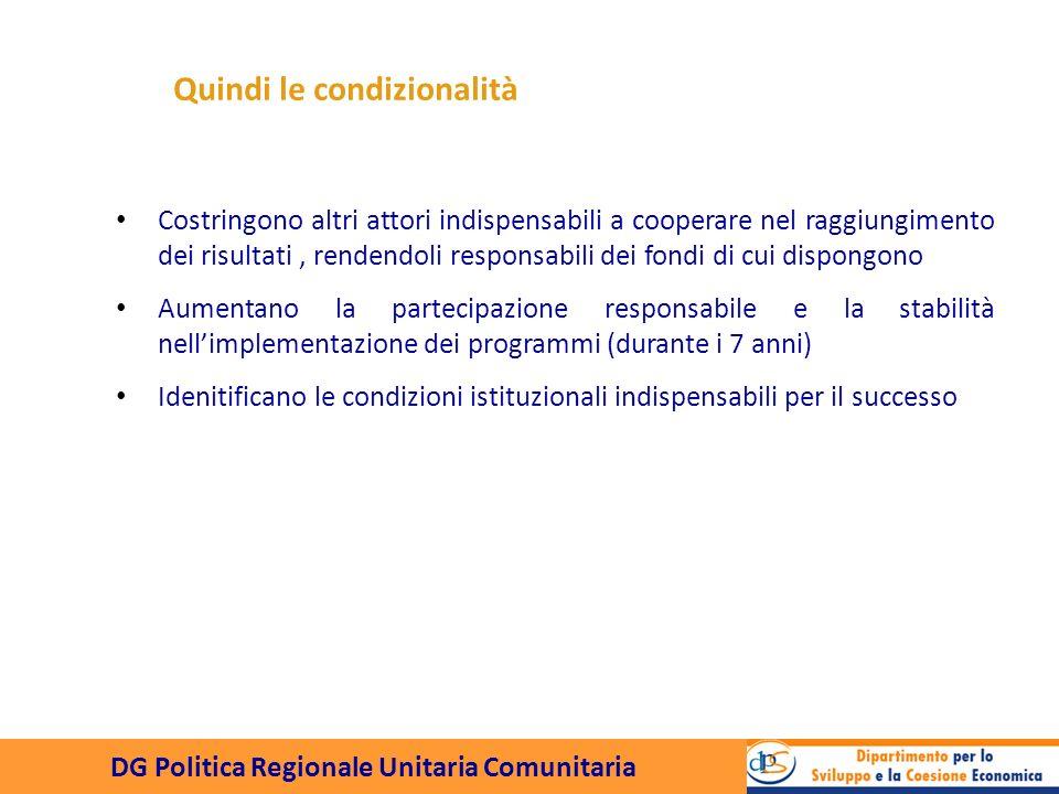 DG Politica Regionale Unitaria Comunitaria Se questi sono gli obiettivi, le condizionalità......