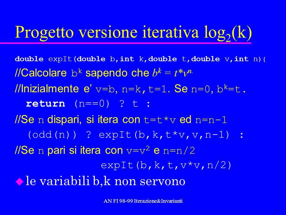 AN FI 98-99 Iterazione&Invarianti Codice double power( double b, int k ){ return (k==0) .