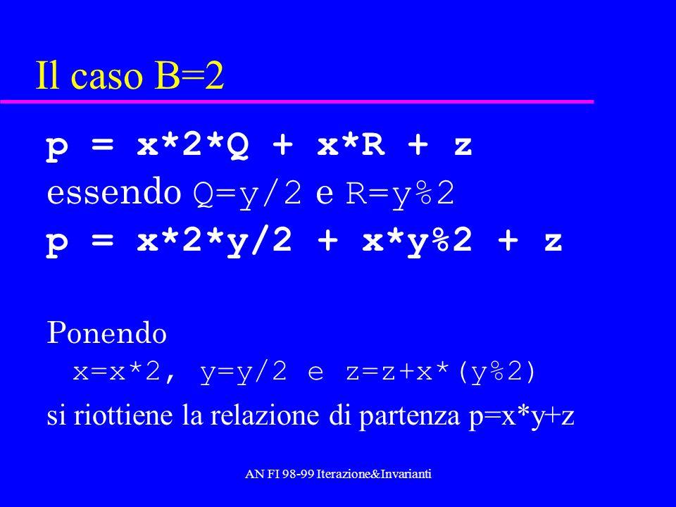 AN FI 98-99 Iterazione&Invarianti Il codice spiegato int MulNat(int x,int y,int z){ //a*b=x*y+z inizialmente x=a, y=b, z=0 return(y == 0) .