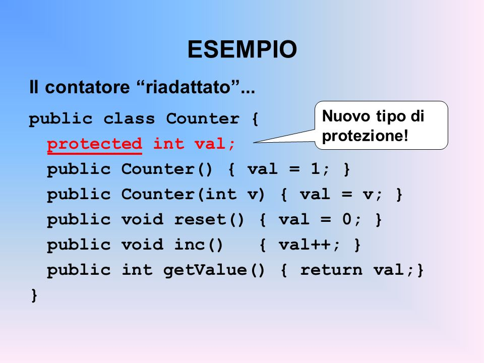 ESEMPIO … e il contatore con decremento: public class Counter2 extends Counter { public void dec() { val--; } } Ora funziona !