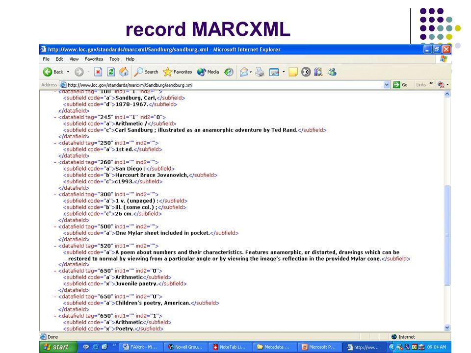 Conversione tra schemi di metadati è il risultato di una mappatura, cioè del procedimento con il quale vengono individuate le corrispondenze sintattiche e semantiche tra singoli elementi di due schemi di metadati lambiente XML in funzione del quale è stato sviluppato MARCXML si presta bene alla conversione tra schemi di metadati sono stati sviluppati dei dispositivi software per semplificare le procedure
