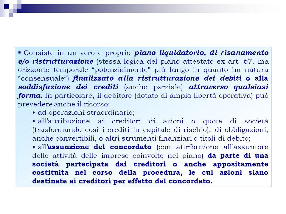 … le forme di concordato in sintesi Con cessione di beni, con garanzia, misto (forme tradizionali) + Mediante effettuazione di operazioni straordinarie