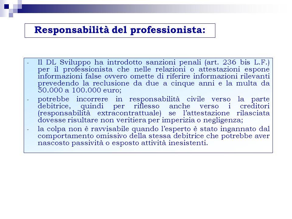 … la responsabilità civile del professionista La legge non specifica grado e contenuto della responsabilità (verso il ceto creditorio) Responsabilità extracontrattuale ex art.