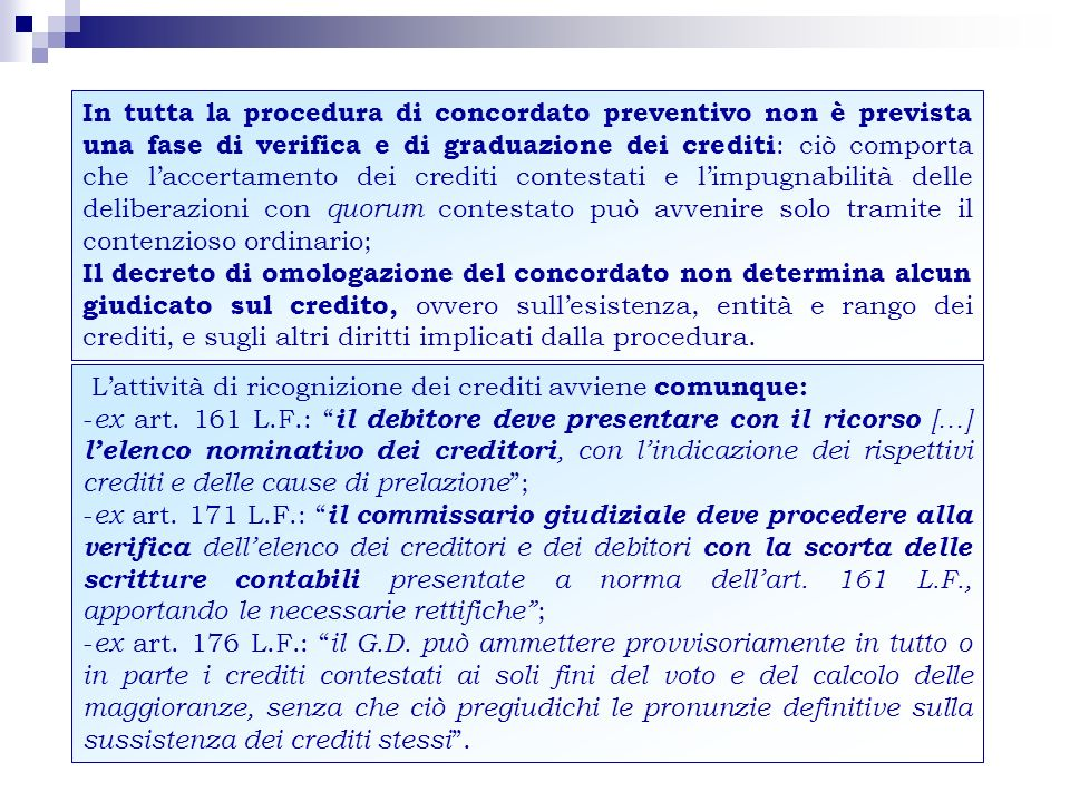 MAGGIORANZA PER LAPPROVAZIONE DEL CONCORDATO (artt.