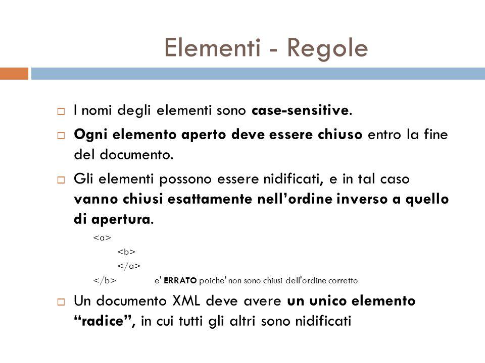 Elementi - Sintassi Il tag di apertura di un elemento ha la forma seguente: nome è il nome dellelemento.