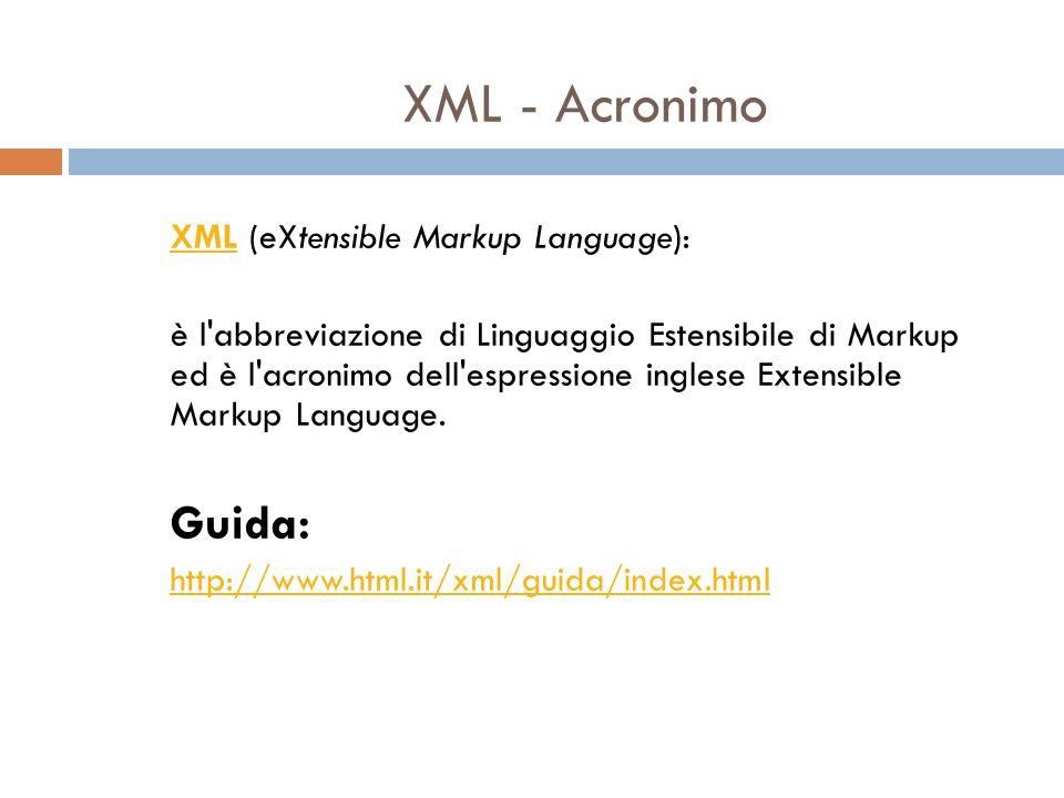Cosa è XML.è un markup language molto simile all HTML è pensato per descrivere dati.