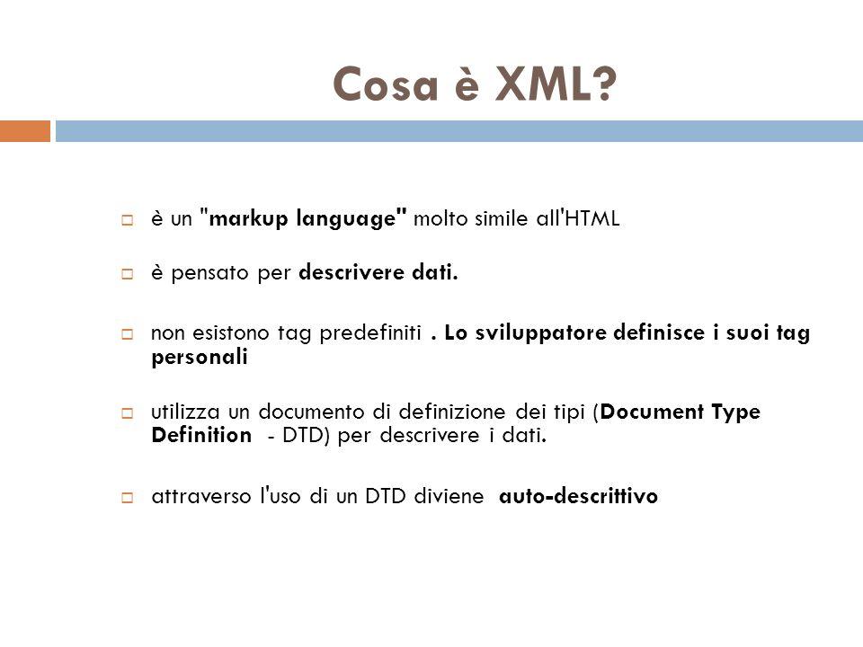 Principali differenze fra HTML e XML XML è pensato per trasportare dati.