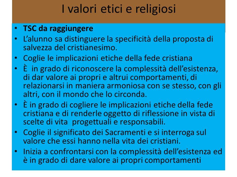 I valori etici e religiosi Obiettivi Riconoscere loriginalità della proposta cristiana, in risposta al bisogno di salvezza e di speranza delluomo.