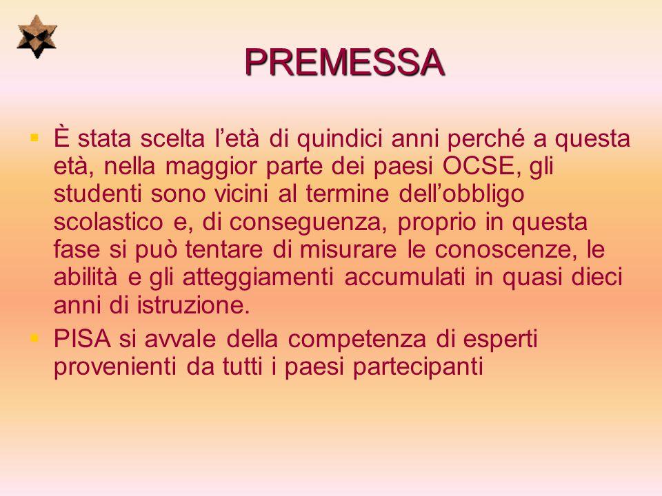 PREMESSA Questa architettura di governo del progetto PISA garantisce che gli strumenti di valutazione adottati - siano validi a livello internazionale e tengano conto del contesto culturale e curriculare dei paesi membri dellOCSE; - abbiano solide basi metodologiche; - diano il dovuto risalto alla efficacia dellazione educativa