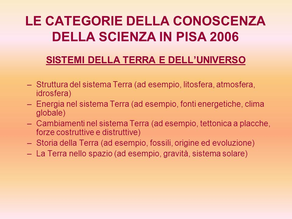 LE CATEGORIE DELLA CONOSCENZA DELLA SCIENZA IN PISA 2006 SISTEMI TECNOLOGICI – –Ruolo della tecnologia fondata sulla scienza (ad esempio, risolvere problemi, aiutare gli esseri umani a soddisfare bisogni e aspirazioni, pianificare e condurre ricerche) – –Rapporti fra scienza e tecnologia (ad esempio, le tecnologie contribuiscono al progresso della scienza) – –Concetti (ad esempio, ottimizzazione, costi, benefici, rischi) – –Principi importanti (ad esempio, innovazione, invenzione, problem solving)