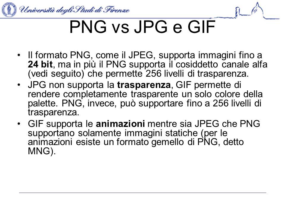 PNG vs JPG e GIF Sia PNG che GIF supportano il metodo interlacciato (ovvero la possibilità di visualizzare, mentre si scarica l immagine completa, un anteprima meno dettagliata della stessa, una funzionalità utilissima in caso di connessioni lente).