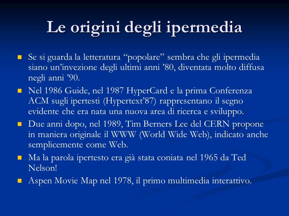 Esempi di ipermedia Il World Wide Web Il World Wide Web Linsieme dei processi aperti in un calcolatore Linsieme dei processi aperti in un calcolatore La TV digitale terrestre La TV digitale terrestre