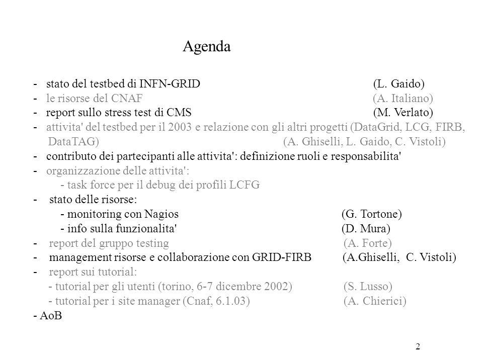 3 Stato del testbed di INFN-GRID