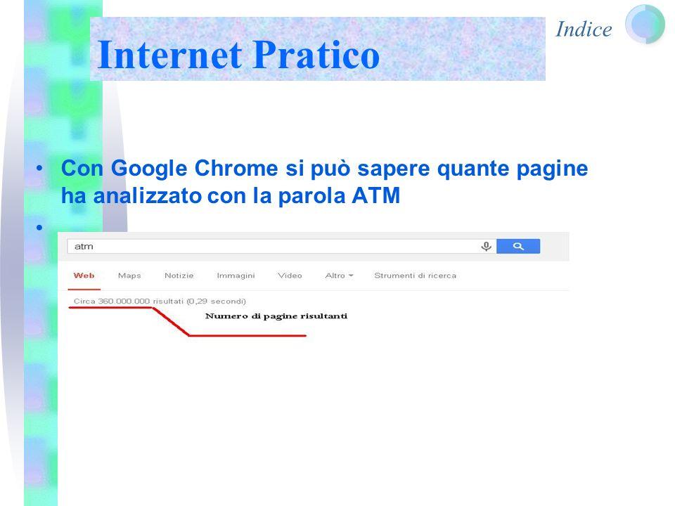 Indice La parola ATM si trova in 360.000.000 di pagine web Ma se quello che ci interessa a noi è la pagina dell'ATM di Milano andremo a cliccare Atm Milano Internet Pratico