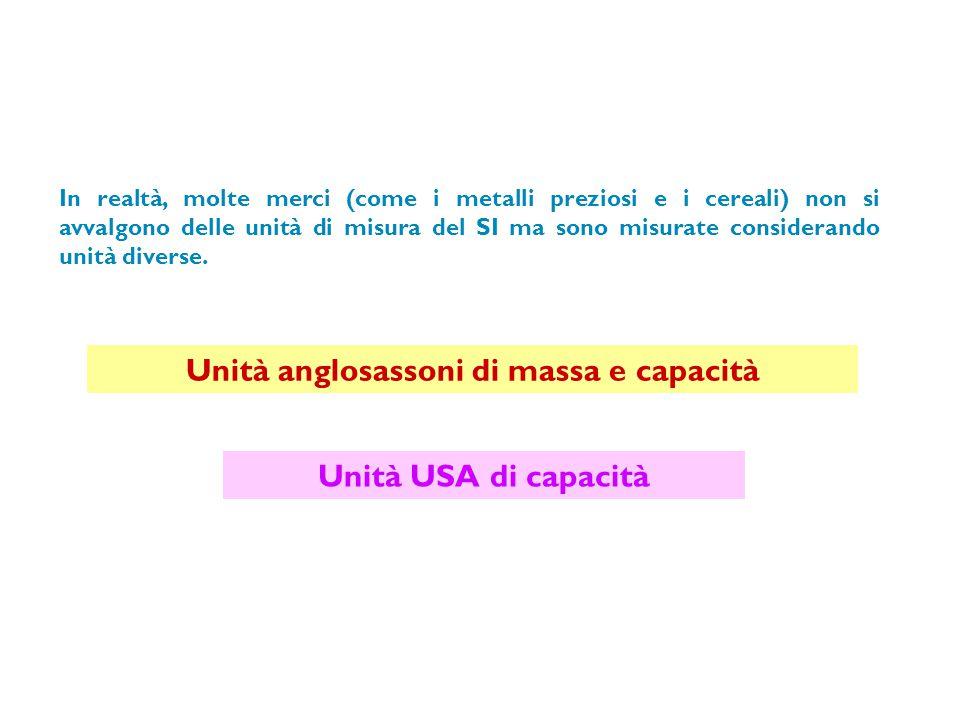 Unità anglosassoni di massa Le principali unità di massa sono dette unità avoirdupois (ovvero avere peso).