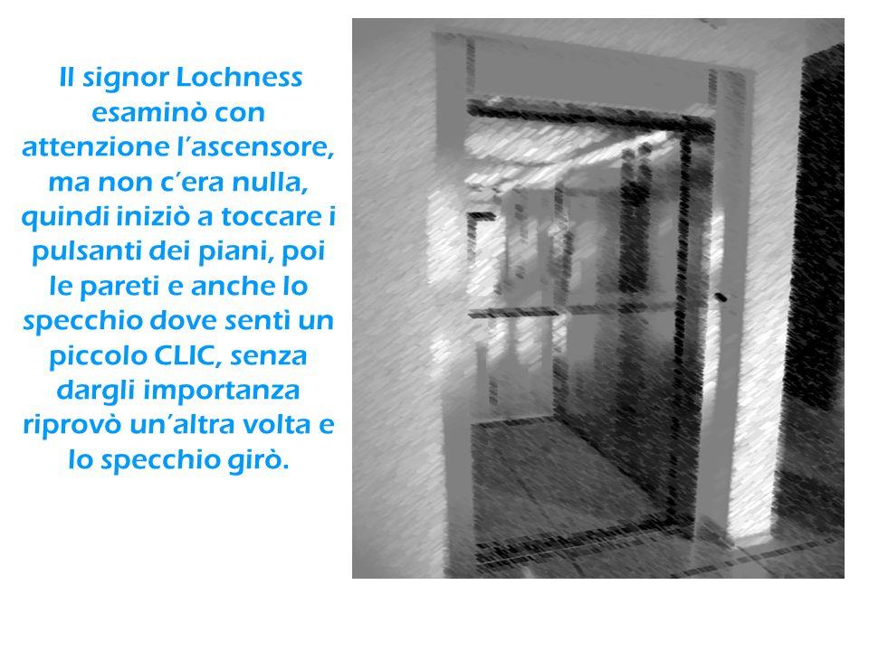 Il signor Lochness esaminò con attenzione l'ascensore, ma non c'era nulla, quindi iniziò a toccare i pulsanti dei piani, poi le pareti e anche lo specchio dove sentì un piccolo CLIC, senza dargli importanza riprovò un'altra volta e lo specchio girò.
