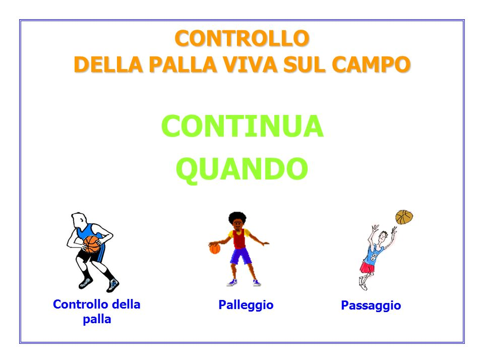 CONTROLLO DELLA PALLA VIVA SUL CAMPO TERMINA QUANDO la palla lascia la mano del giocatore per un tiro a canestro