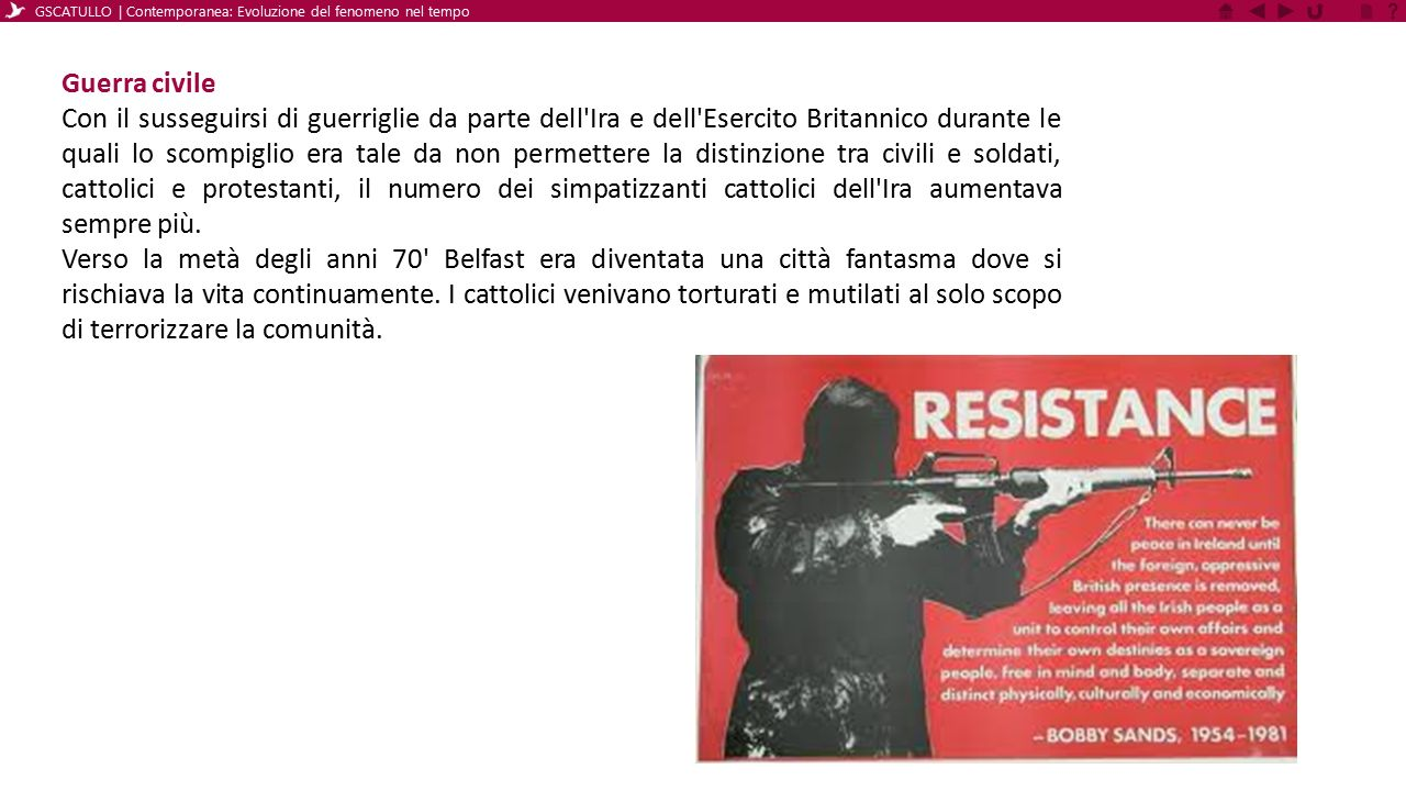 Ancora Guerra civile Tra il 1974 e il 1975, alcuni accordi tra l IRA e il governo britannico portarono ad una tregua che però venne interrotta dopo alcuni mesi.