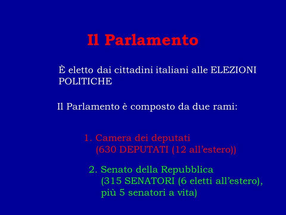 Il Parlamento Il Parlamento è composto da due rami: 1.