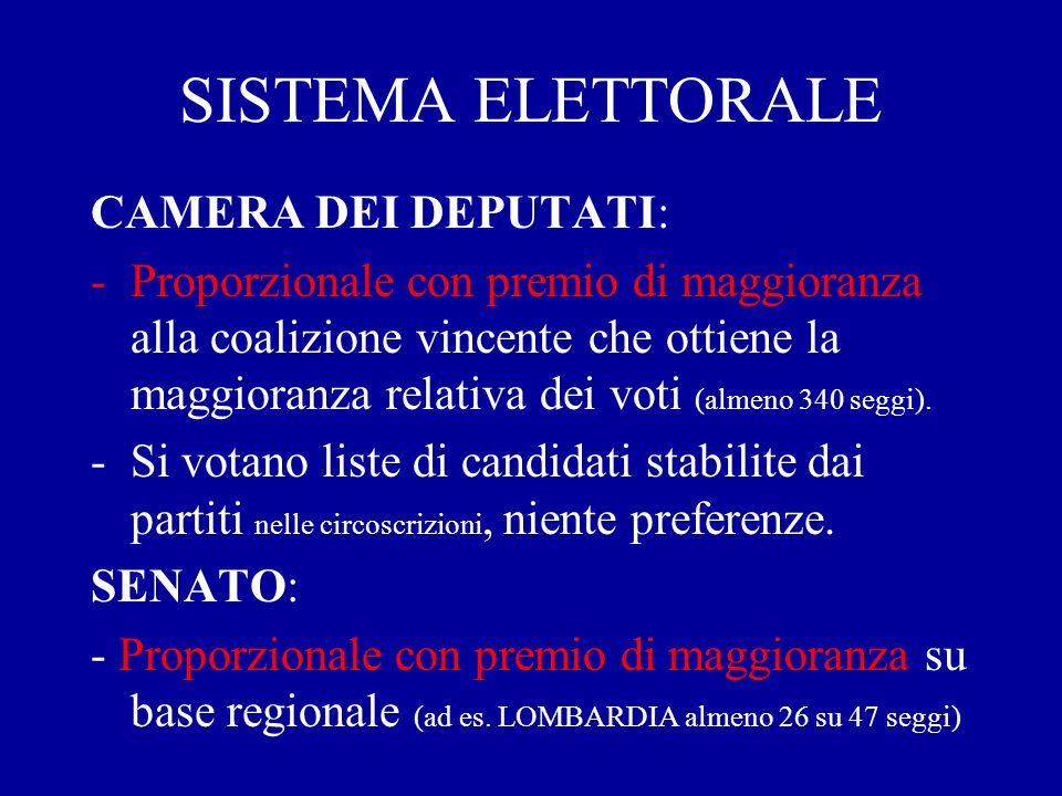 SISTEMA ELETTORALE CAMERA DEI DEPUTATI: -Proporzionale con premio di maggioranza alla coalizione vincente che ottiene la maggioranza relativa dei voti (almeno 340 seggi).