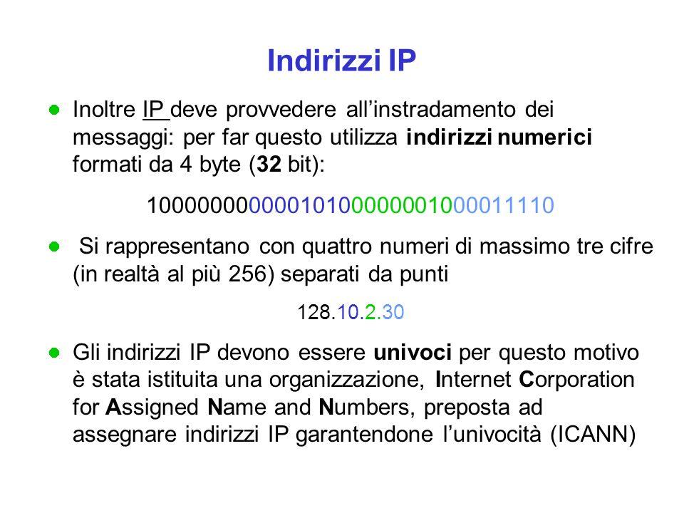 Un indirizzo IP ha la seguente struttura: in generale   la parte sinistra dell'indirizzo indica la rete (NETID)   la parte destra indica il singolo host di quella rete (HOSTID) Quali gruppi di cifre formino la parte rete e quali la parte host dipende dalla classe della rete (le classi principali sono tre: A, B, C): nelle reti di classe A solo il primo byte indica la rete, gli altri tre indicano gli host: questi possono essere 16.777.214 nelle reti di classe C i primi tre byte indicano la rete, e solo l'ultimo gli host che sono al più 256.