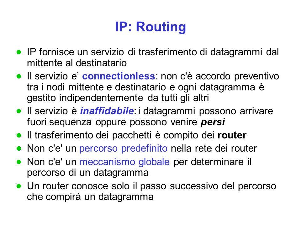 Come viaggiano i dati Un router X analizza il NETID del datagramma: se la rete è quella di cui fa parte X, i dati sono inviati direttamente all'host indicato nell'indirizzo (HOSTID); altrimenti sono inviati ad uno dei router a cui X è collegato (possono essere più di uno)