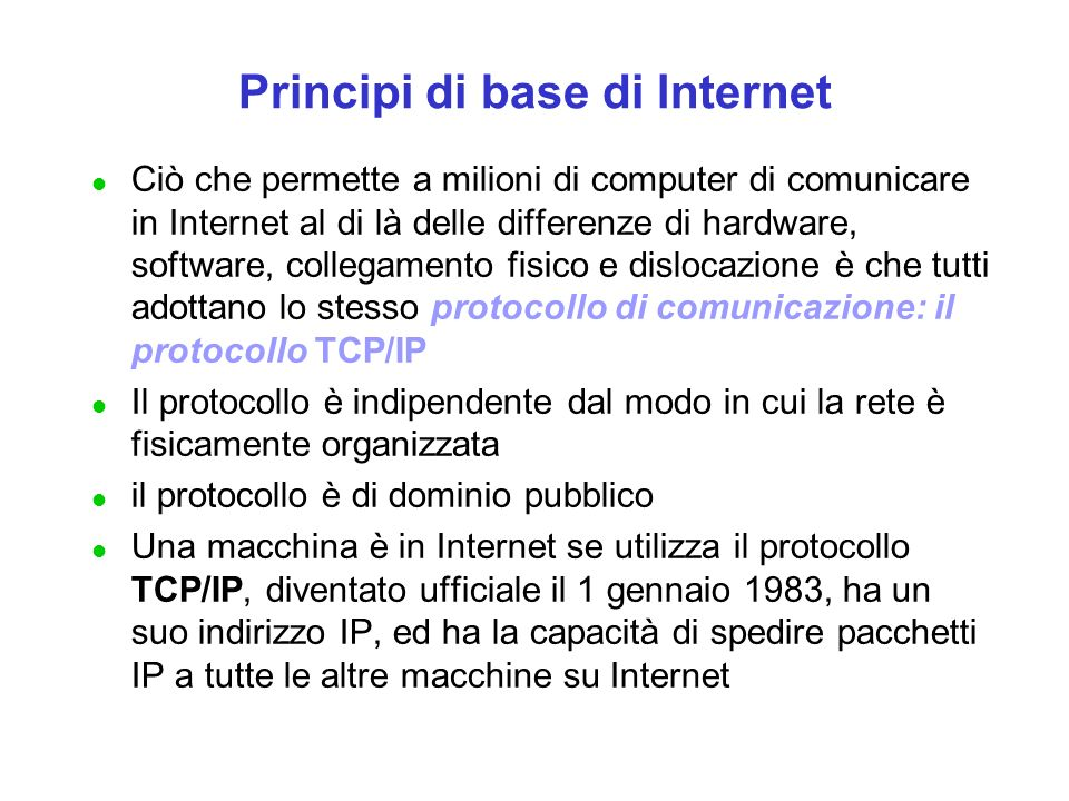 Compito di un Protocollo di Comunicazione Un protocollo di comunicazione definisce le regole che un computer deve conoscere per inviare informazioni attraverso un mezzo fisico di trasmissione verso un altro computer.
