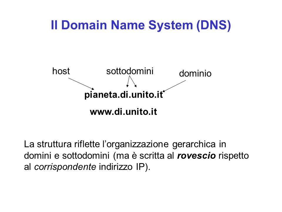 Internet: gli indirizzi l Ad esempio, l indirizzo della sottorete del Dipartimento di Informatica dell Università di Torino è: di.unito.it l dove it è il nome logico che indica il dominio Italia, unito indica il sotto-dominio Università di Torino e di il sotto-sottodominio Dipartimento di Informatica l In modo analogo gli indirizzi del Dipartimento di Matematica dell Università di Torino e del CISI sono: dm.unito.it cisi.unito.it