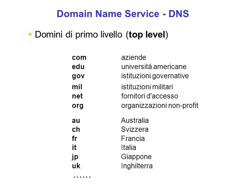 Risoluzione dei Nomi La risoluzione, cioè la traduzione dal simbolico al numerico, spetta al Domain Name System: un sistema di database distribuiti sulla rete (computer che gestiscono il servizio sono chiamati server DNS).
