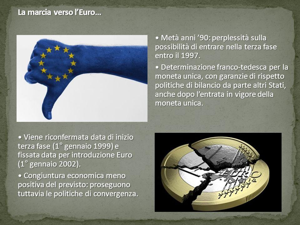 La marcia verso l'Euro… Alla fine del Millennio: UE non ha ancora conosciuto un'evoluzione in senso federalista.