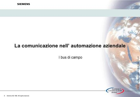Excellencein Automation&Drives: Siemens A A&D MC, masserini98.ppt, 10.09.99, slide 1 von 8 Siemens AG 1998. All rights reserved. © La comunicazione nell'